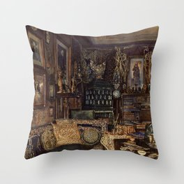 The Chamber Of Count Lanckoronski Vienna 1881 by Rudolf von Alt | Reproduction Throw Pillow