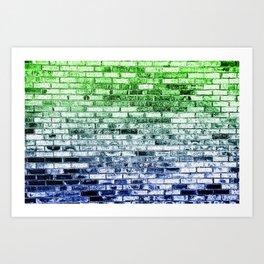 Colored Bricks - Green and Bllue Art Print