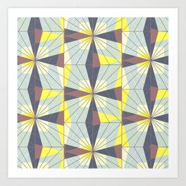 It's complicated. Bold geometric pattern in marsala, yellow and charcoal. Art Print