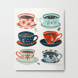 Tea Time – Coral & Teal Metal Print