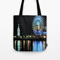 kobe Tote Bags featuring Kobe Neon Haze by Dora