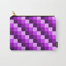 Violet Purple & Pink Geometric Pixels Mosaic Pattern Carry-All Pouch