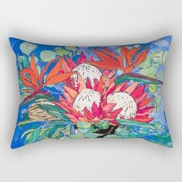 Tropical Protea Bouquet with Toucans in Greek Horse Urn on Ultramarine Blue Rectangular Pillow