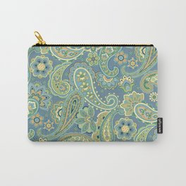 Blue and Gold Paisley Carry-All Pouch