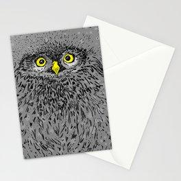 Fluffy baby owl staring eyes Stationery Cards
