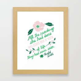 Illustrated Roald Dahl Quote Framed Art Print