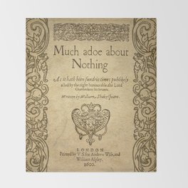 Shakespeare. Much adoe about nothing, 1600 Throw Blanket