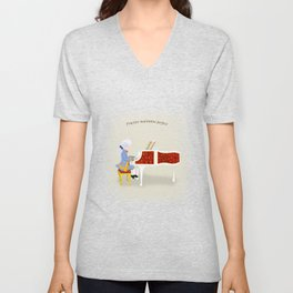 Young Mozart Playing the Piano: Practice Maintains Perfect Unisex V-Neck