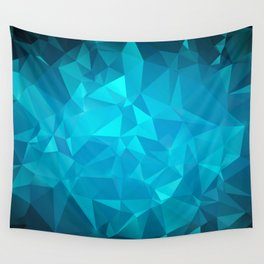 Blue Polygonal Mosaic Wall Tapestry