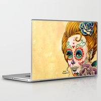 fitzgerald Laptop & iPad Skins featuring Dia de los Muertos Roses by Cathy FitzGerald