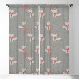 Fox in love with heart gray texture all you need is love Blackout Curtain