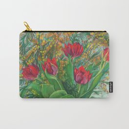 Mimosa and Tulips, Spring Flowers Carry-All Pouch