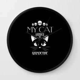Grindcore Funny Cat TShirt Wall Clock