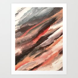 Moving Mountains: an abstract mixed media piece in contrasting pinks, purples, blues, and whites Art Print