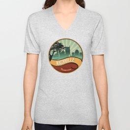 Nashville City Skyline Tennessee Retro Vintage Design Unisex V-Neck