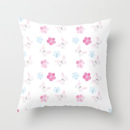 Butteflies and flowers in pastel Throw Pillow