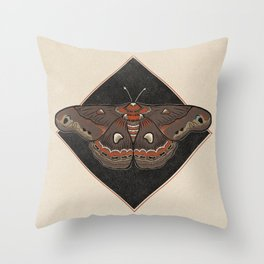 Moth Vintage Style Illustration Throw Pillow