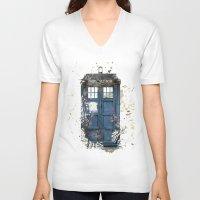 tardis V-neck T-shirts featuring Tardis by Zhavorsa