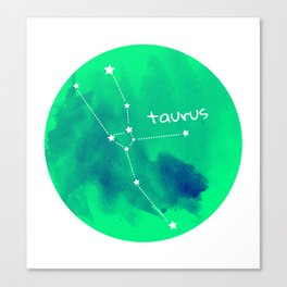 Watercolor Taurus Constellation Canvas Print