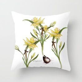 Daffodil- watercolor  Throw Pillow