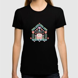 Scandinavian Folk Style Owl Bird House T-shirt