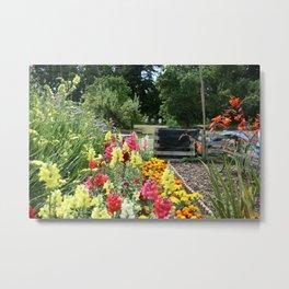 English Country Garden Scene Metal Print