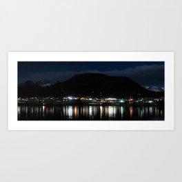 Watercolor Nightscape, Estes Park 09, Colorado, Lake Estes Brightline Art Print