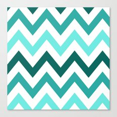 TRI-TONE TEAL CHEVRON Canvas Print