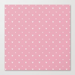 Small sketchy white hearts pattern on pink background Canvas Print