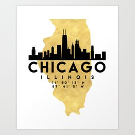 CHICAGO ILLINOIS SILHOUETTE SKYLINE MAP ART Art Print