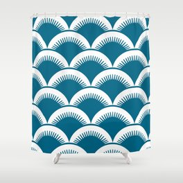 Japanese Fan Pattern Peacock Blue Shower Curtain