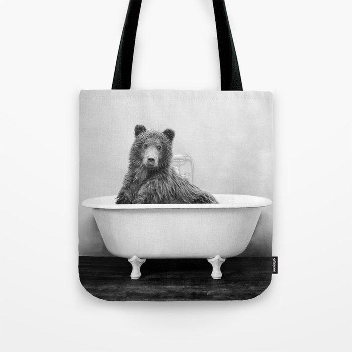 Bear in a Vintage Bathtub (bw) Tote Bag