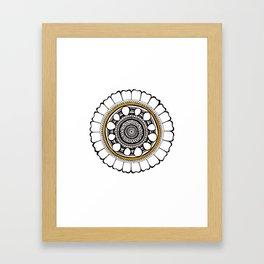 Leo Lion Mandala: Ink and Gold Framed Art Print
