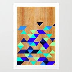 Geometric Blue Polygons Art Print