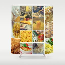 Collage Pasta food Shower Curtain