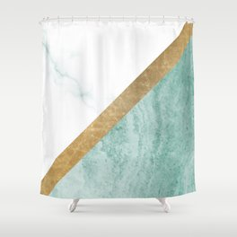 Marble luxe - jade teal Shower Curtain