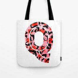 Letter Q Watercolour Leopard Print Alphabet Red Tote Bag