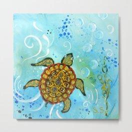 Sea Turtle Painting  Metal Print