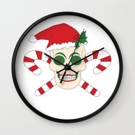 Creepy Christmas Santa Skull Wall Clock