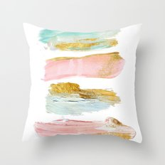 Pastel and gold strokes Throw Pillow