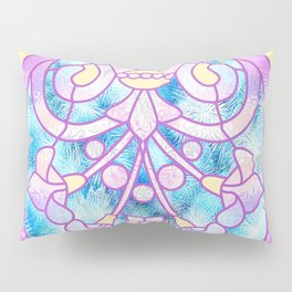 Art Nouveau Blue Pink and Yellow Batik Design Pillow Sham