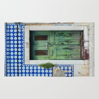 portugal Area & Throw Rugs featuring DOOR, LISBON, PORTUGAL by Sébastien BOUVIER