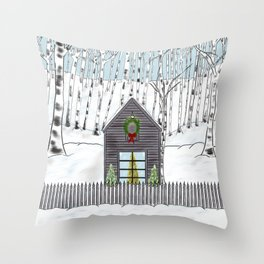 Christmas Cabin In The Snowy Woods Throw Pillow