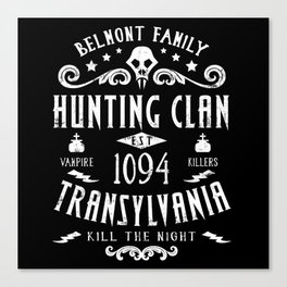 Geeky Gamer Chic Castlevania Inspired Belmont Family Hunting Clan Canvas Print
