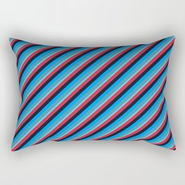 Blue Red Inclined Stripes Rectangular Pillow