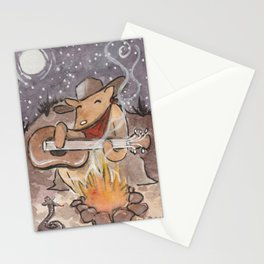 Cowboy Dog Singing Cowboy Music By The Campfire Stationery Cards