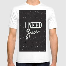 I NEED SPACE  White MEDIUM Mens Fitted Tee