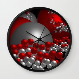 3D in red, white and black -10- Wall Clock