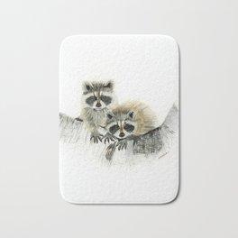 Curious Cubs - raccoons, animals, wildlife, nature Bath Mat