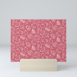 Food Art Simple Pattern In Pink Mini Art Print